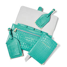 Travel Collection with Removable Inserts in Chalkhill Blue Patent Croc