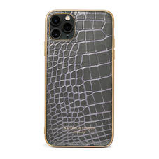 iPhone 11 Pro Max Case with Gold Edge in Storm Patent Croc