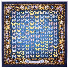 Butterfly Silk Scarf in Navy Pure Silk