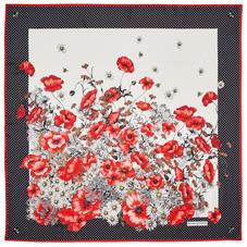 Polka Dot Poppy Silk Scarf in Red & Black Pure Silk