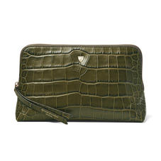 Large Essential Cosmetic Case in Khaki Double Croc