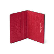 Double Fold Credit Card Holder in Cherry Pebble