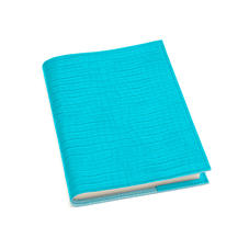 A5 Refillable Leather Journal in Deep Shine Aqua Small Croc