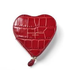 Heart Coin Purse in Deep Shine Red Croc