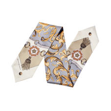 Signature Shield Neck Bow Scarf in Neutral Silk Twill