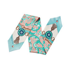 Signature Shield Neck Bow Scarf in Blush & Teal Silk Twill
