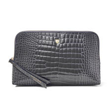 Large Essential Cosmetic Case in Storm Patent Croc