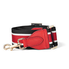 Webbing Bag Strap in Scarlett Saffiano with Red, Black & White Stripes