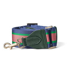 Webbing Bag Strap in Evergreen Pebble with Navy, Green & Pink Stripes