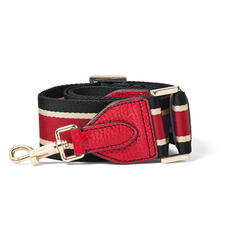 Webbing Bag Strap in Cherry Pebble with Black, Red & White Stripes