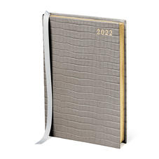 A5 Day to Page Leather Diary in Deep Shine Warm Grey Small Croc