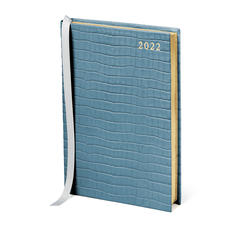 A5 Day to Page Leather Diary in Deep Shine Cornflower Small Croc