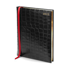 Quarto A4 Day to Page Leather Diary in Deep Shine Black Croc