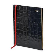 Quarto A4 Week to View Leather Diary in Deep Shine Black Croc