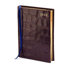 A6 Day to Page Leather Diary in Deep Shine Amazon Brown Croc