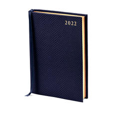 A6 Day to Page Leather Diary in Midnight Blue Lizard