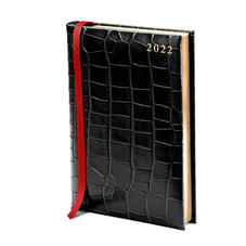 A5 Day to Page Leather Diary in Deep Shine Black Croc