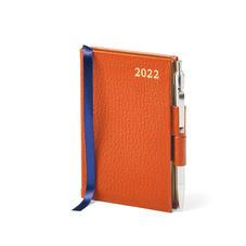 Mini Pocket Diary with Pen in Marmalade Pebble