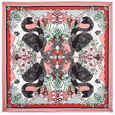 Emily Carter Silk Scarf - Fuchsia & Flamingo