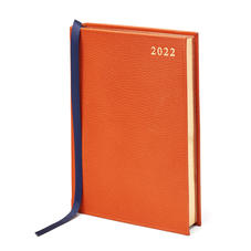 A5 Day to Page Leather Diary in Marmalade Pebble
