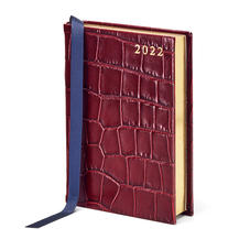 A6 Day to Page Leather Diary in Deep Shine Bordeaux Croc