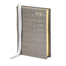 A6 Day to Page Leather Diary in Deep Shine Warm Grey Small Croc