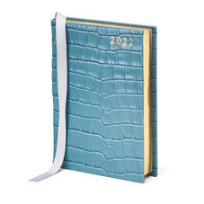A6 Day to Page Leather Diary in Deep Shine Cornflower Small Croc