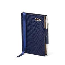 Mini Pocket Diary with Pen in Midnight Blue Lizard