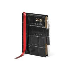 Mini Pocket Diary with Pen in Black Croc