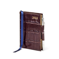 Mini Pocket Diary with Pen in Amazon Brown Croc
