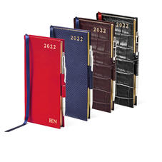 Slim Pocket Leather Diary And Pen