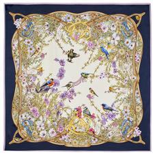 Edwardian Garden Giant Silk Scarf in Navy Pure Silk