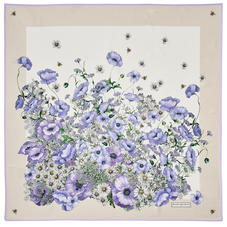 Polka Dot Poppy Giant Silk Scarf in English Lavender Pure Silk