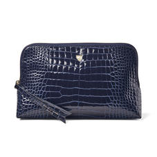 Large Essential Cosmetic Case in Midnight Blue Patent Croc