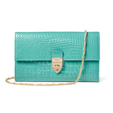 Mayfair Clutch in Chalkhill Patent Croc