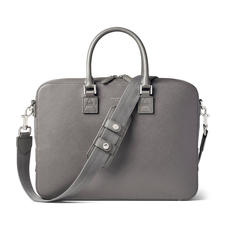 Small Mount Street Laptop Bag in Grey Saffiano