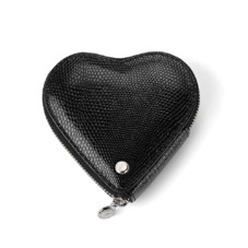 Heart Coin Purse in Jet Black Lizard
