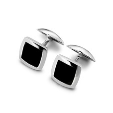 Sterling Silver & Onyx Square Cufflinks
