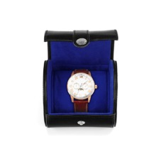 Travel Watch Roll in Smooth Black & Cobalt Blue Suede