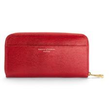 Continental Clutch Zip Wallet in Berry Lizard