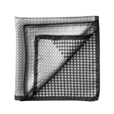 Savile Row Silk Twill Pocket Square in Silver & Charcoal