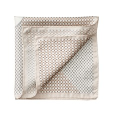 Savile Row Silk Twill Pocket Square in Champagne & Silver