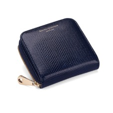 Mini Continental Zipped Coin Purse in Midnight Blue Lizard