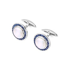 Round Mother of Pearl Cufflinks Gemset with Cluster Sapphires in 9ct White Gold