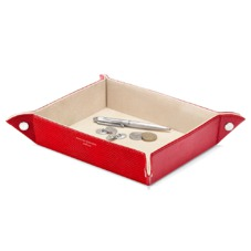 Large Tidy Tray in Berry Lizard & Cream Suede