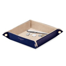 Medium Tidy Tray in Midnight Blue Lizard & Cream Suede