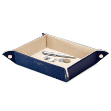 Large Tidy Tray in Midnight Blue Lizard & Cream Suede