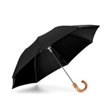 Compact Automatic Umbrella with Maple Wood Handle in Black
