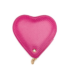 Heart Coin Purse in Raspberry Lizard
