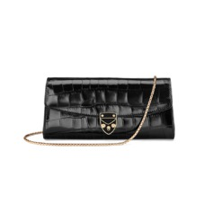 Aspinal x Beulah Blue Heart Clutch in Deep Shine Black Croc